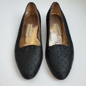 Vintage Cole Haan   Black Brocade Loafer Shoes